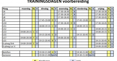 Start trainingen en trainingsdagen voorbereiding